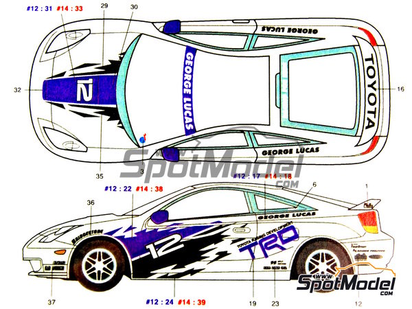 Image 2: Toyota New Celica GT-S TRD - USA West Long Beach Formula 1 Grand Prix 2000   Marking / livery in 1/24 scale manufactured by Studio27 (ref.ST27-DC352)