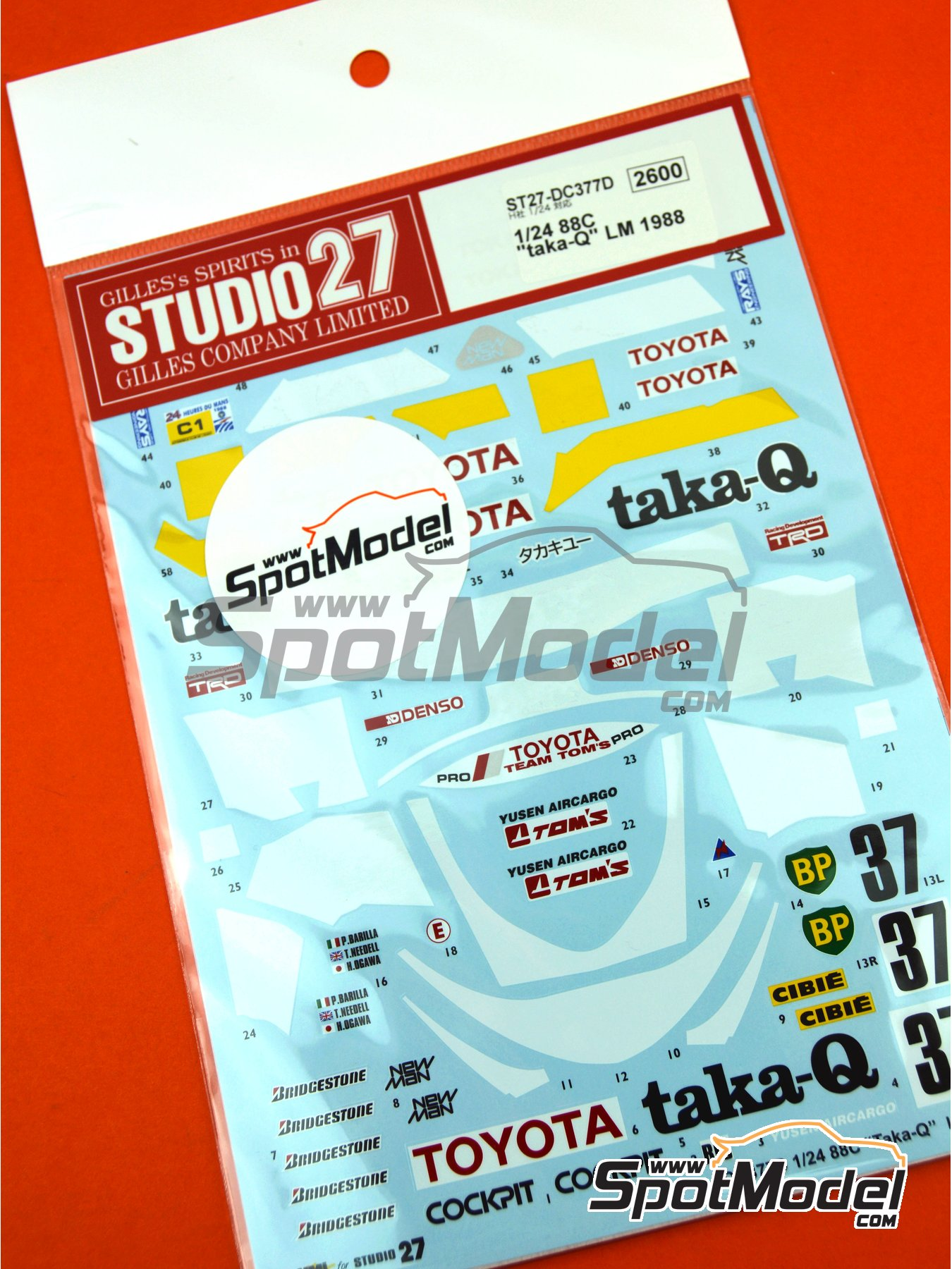 Toyota 88C taka-Q - 24 Hours Le Mans 1988 | Marking / livery in 1/24 scale manufactured by Studio27 (ref.ST27-DC377D) image