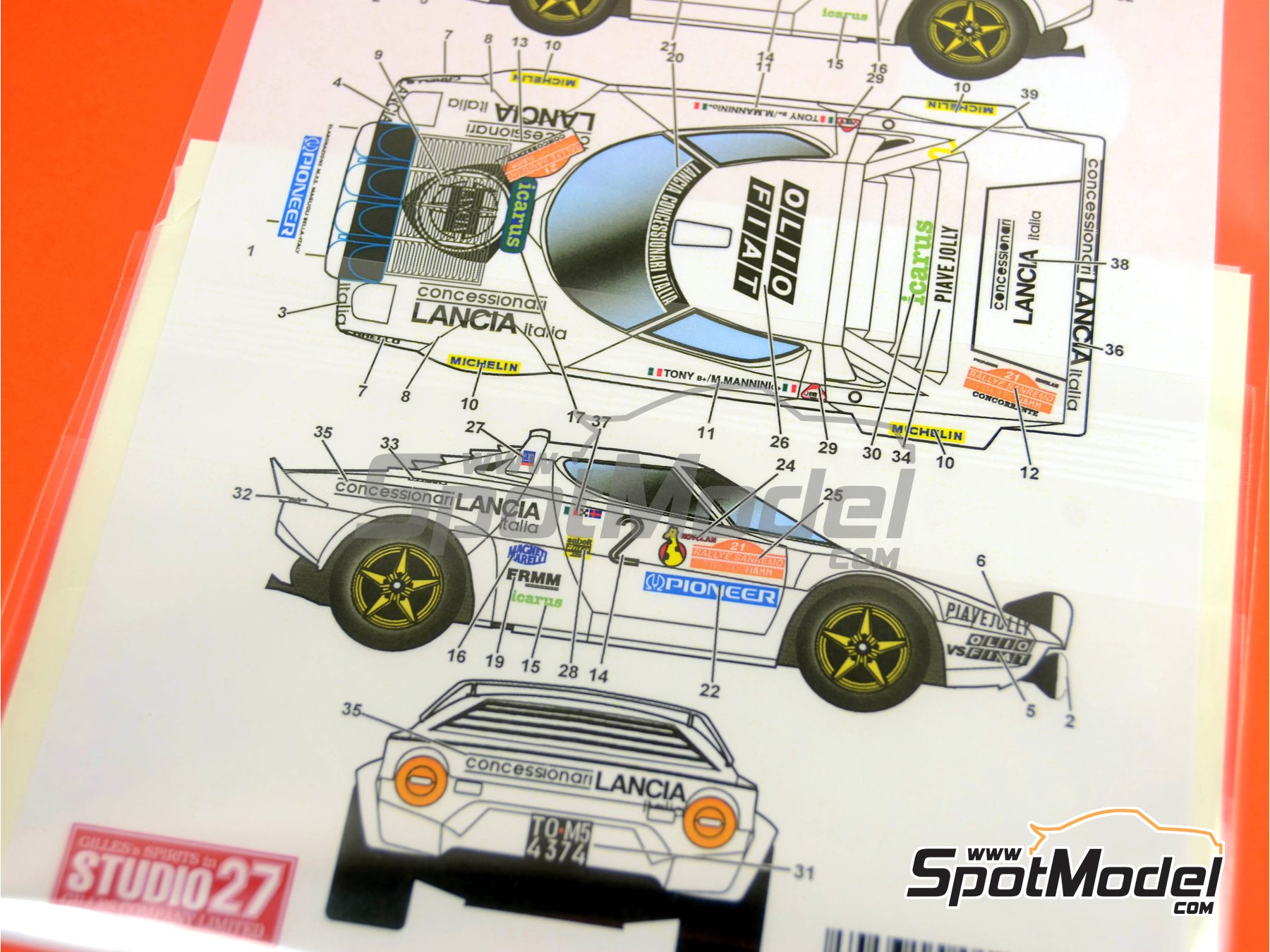 Image 2: Lancia Stratos HF Concessionari Lancia - Rally de San Remo 1979 | Calcas de agua en escala1/24 fabricado por Studio27 (ref.ST27-DC564D)