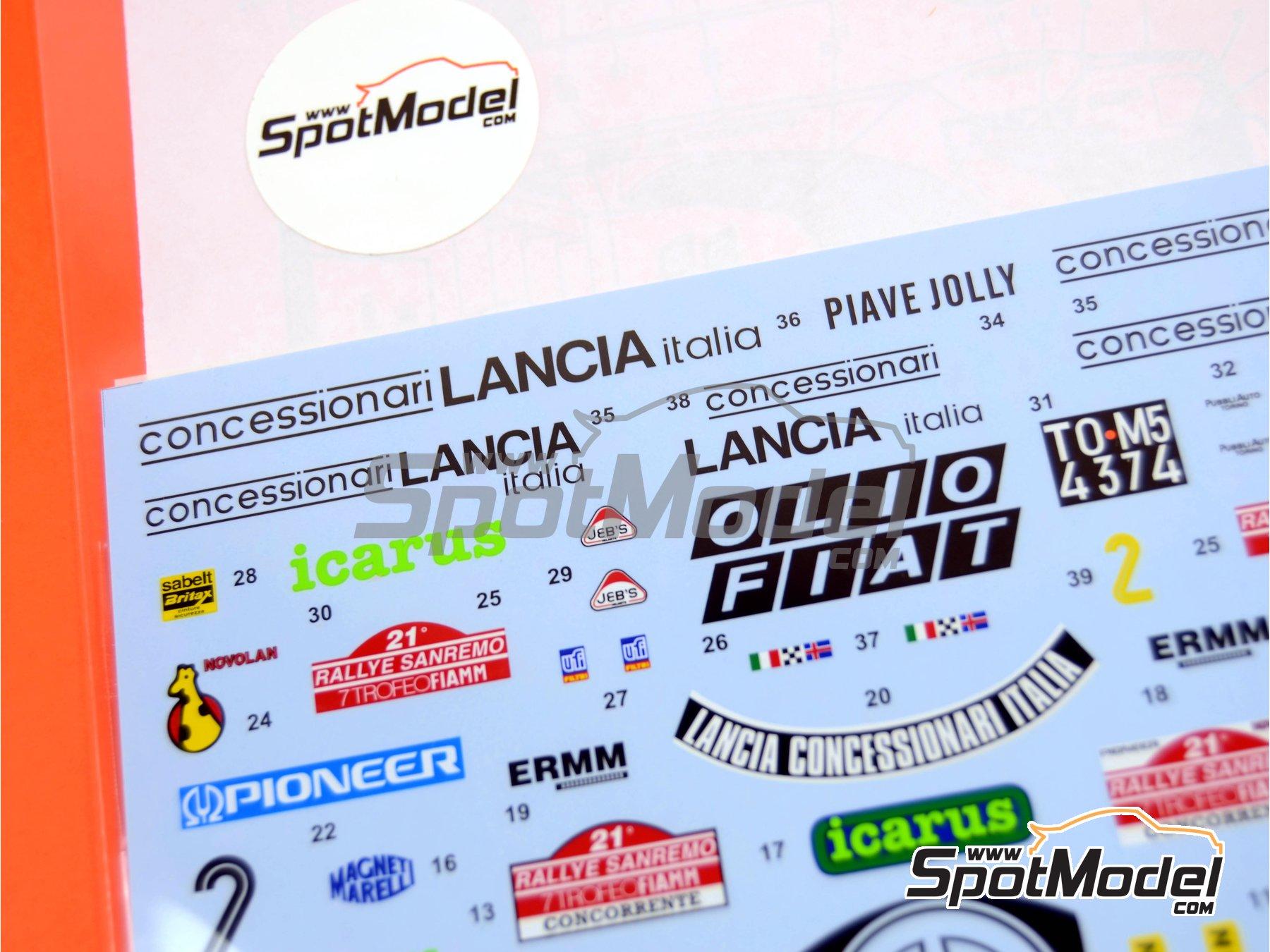 Image 3: Lancia Stratos HF Concessionari Lancia - Rally de San Remo 1979 | Calcas de agua en escala1/24 fabricado por Studio27 (ref.ST27-DC564D)