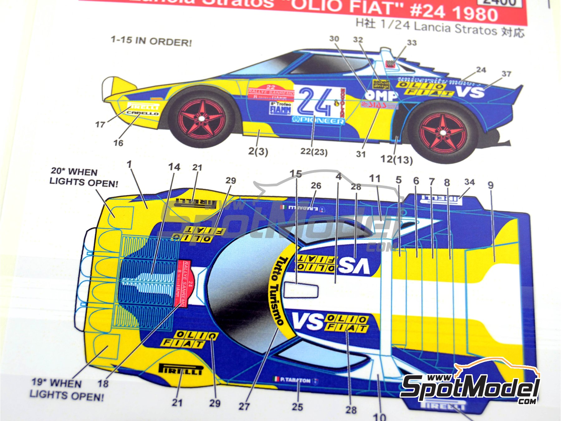 Image 4: Lancia Stratos HF Olio Fiat - Sanremo Rally 1980 | Marking / livery in 1/24 scale manufactured by Studio27 (ref. ST27-DC567D)