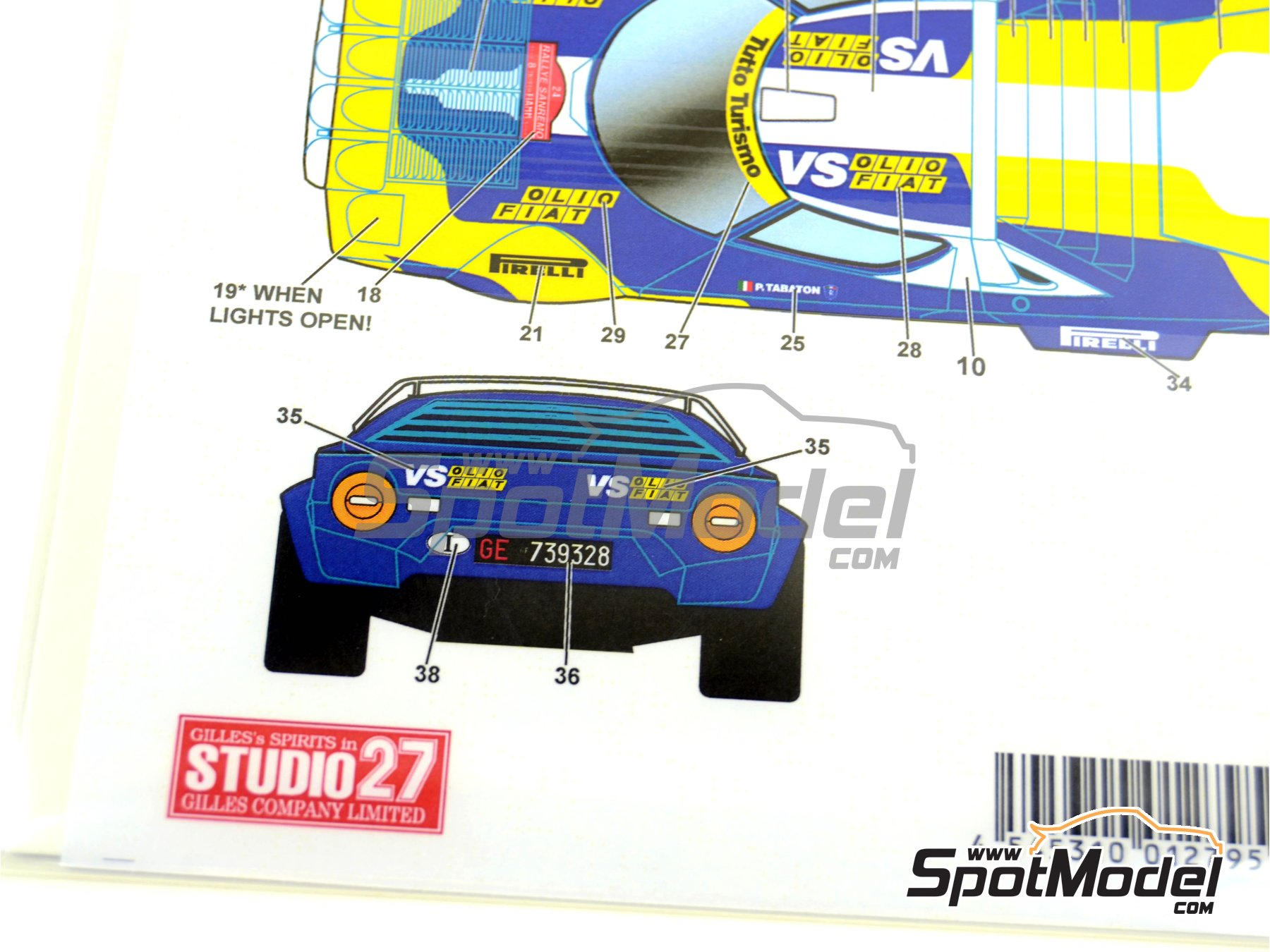 Image 5: Lancia Stratos HF Olio Fiat - Sanremo Rally 1980 | Marking / livery in 1/24 scale manufactured by Studio27 (ref. ST27-DC567D)