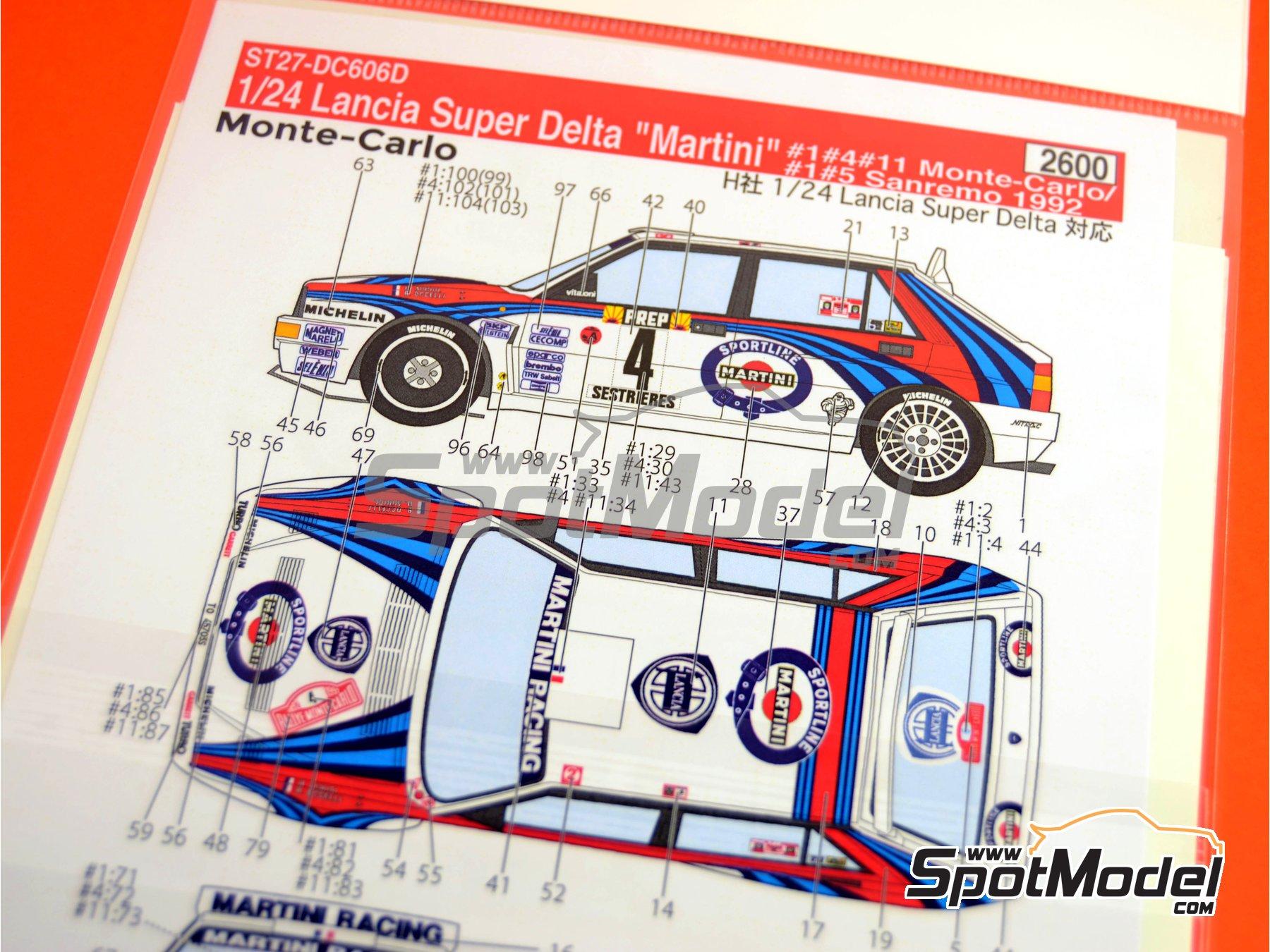 Image 1: Lancia Super Delta Deltona HF Integrale Marlboro - Rally de Montecarlo - Rallye Automobile de Monte-Carlo, Rally de San Remo 1992 | Decoración en escala1/24 fabricado por Studio27 (ref.ST27-DC606D)