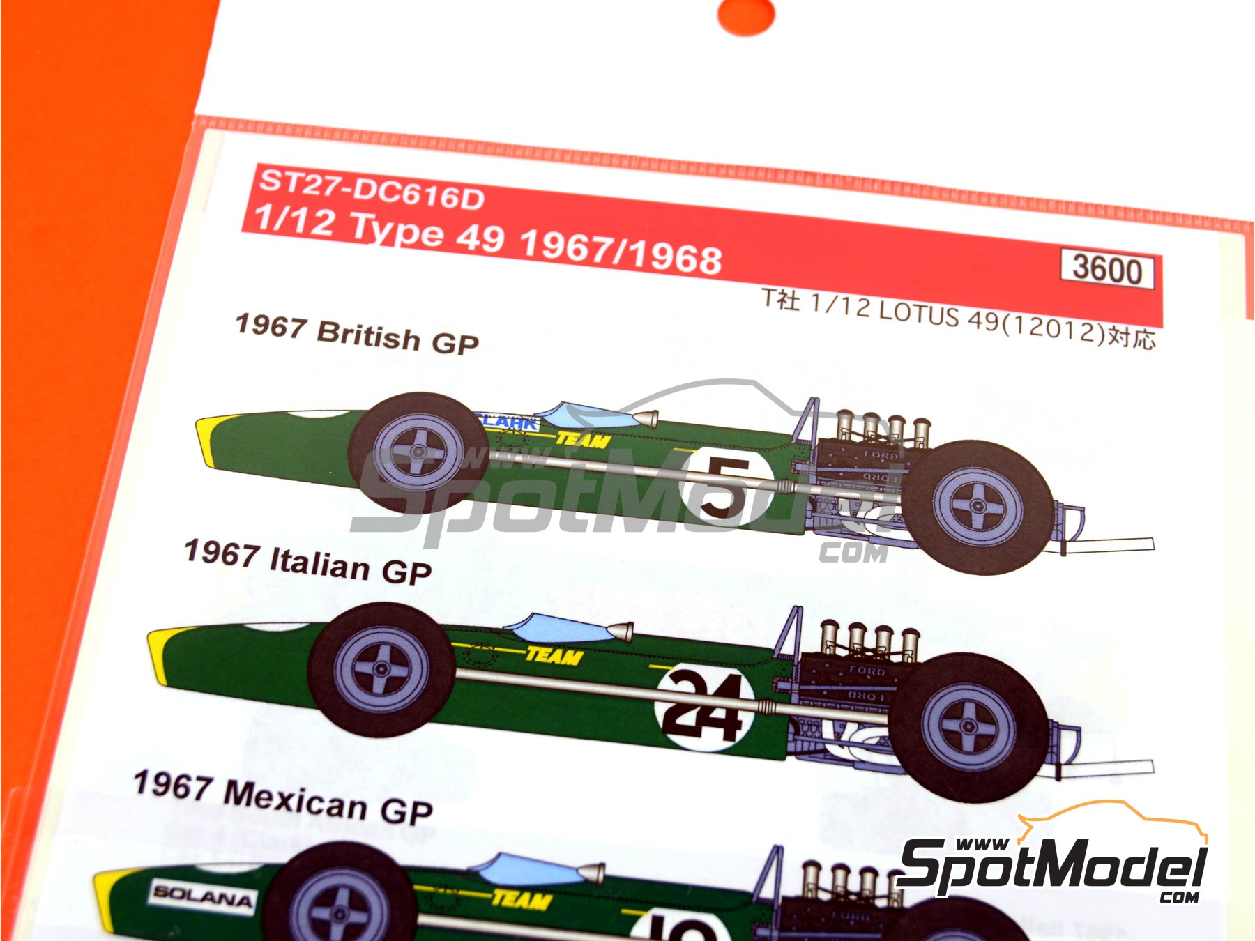 Image 1: Lotus Ford Type 49 Firestone - British Formula 1 Grand Prix, Italian Formula 1 Grand Prix, Mexican Formula 1 Grand Prix, South African Formula 1 Grand Prix 1967 and 1968 | Marking / livery in 1/12 scale manufactured by Studio27 (ref.ST27-DC616D)