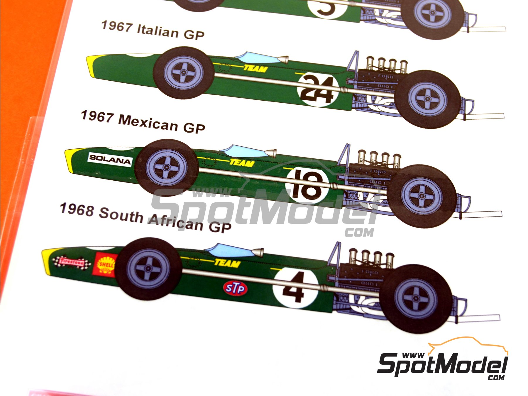 Image 2: Lotus Ford Type 49 Firestone - British Formula 1 Grand Prix, Italian Formula 1 Grand Prix, Mexican Formula 1 Grand Prix, South African Formula 1 Grand Prix 1967 and 1968 | Marking / livery in 1/12 scale manufactured by Studio27 (ref.ST27-DC616D)