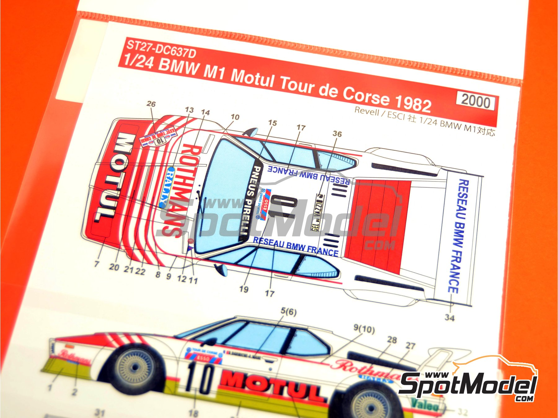 Image 1: BMW M1 Grupo 4 Rothmans Motul - Rally Tour de Corse 1982 | Decoración en escala1/24 fabricado por Studio27 (ref.ST27-DC637D)