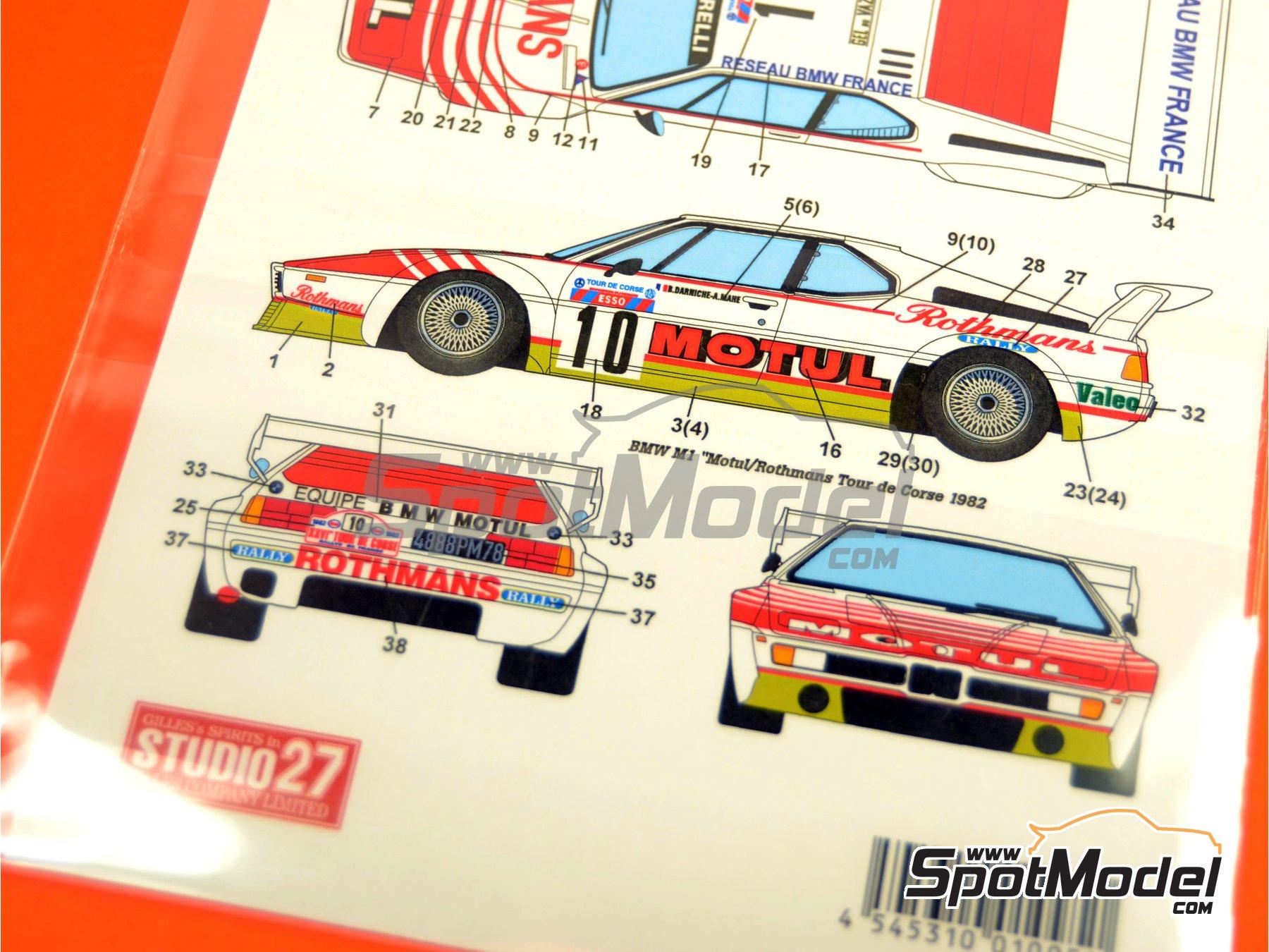 Image 2: BMW M1 Grupo 4 Rothmans Motul - Rally Tour de Corse 1982 | Decoración en escala1/24 fabricado por Studio27 (ref.ST27-DC637D)