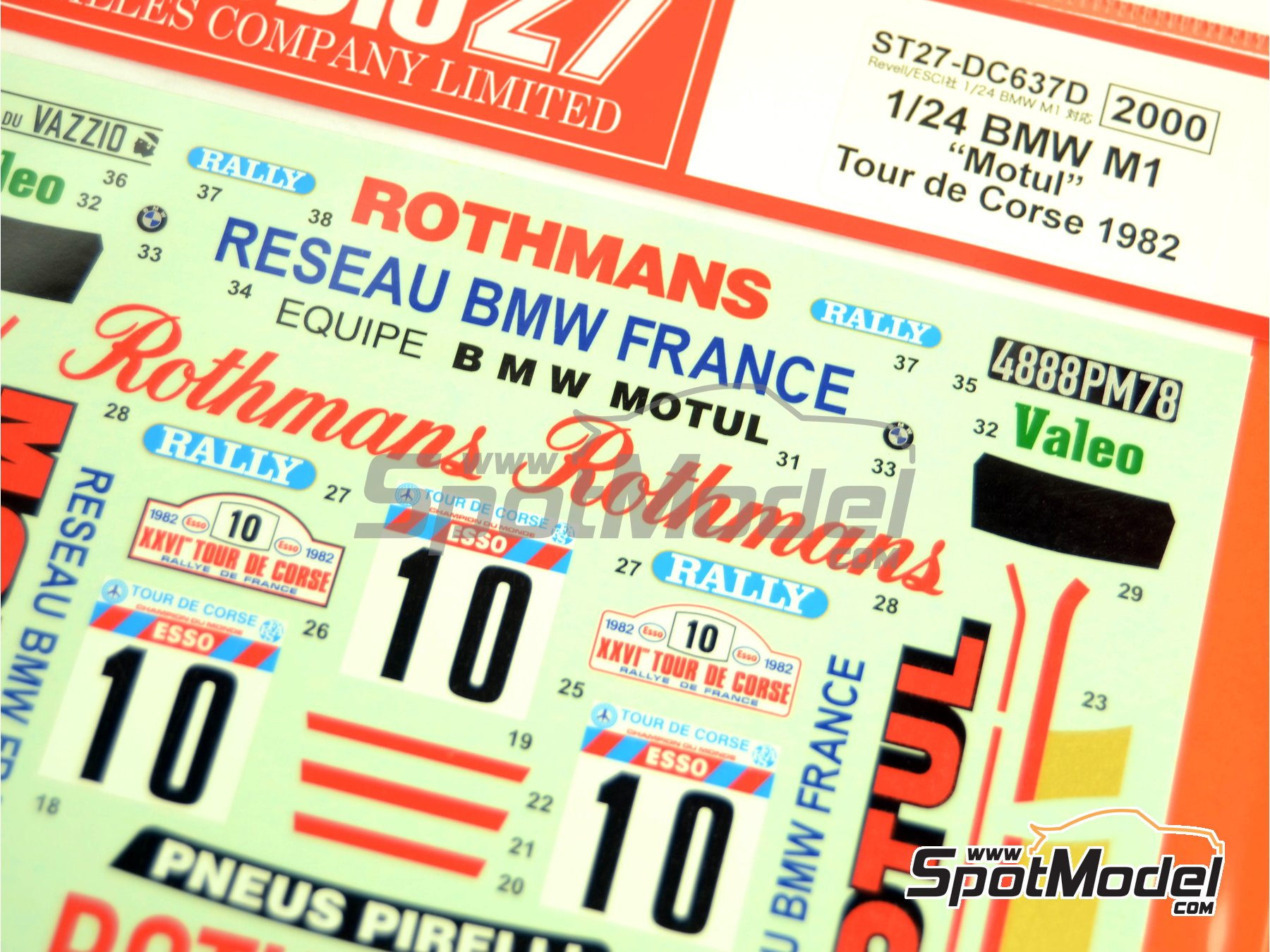 Image 3: BMW M1 Grupo 4 Rothmans Motul - Rally Tour de Corse 1982 | Decoración en escala1/24 fabricado por Studio27 (ref.ST27-DC637D)