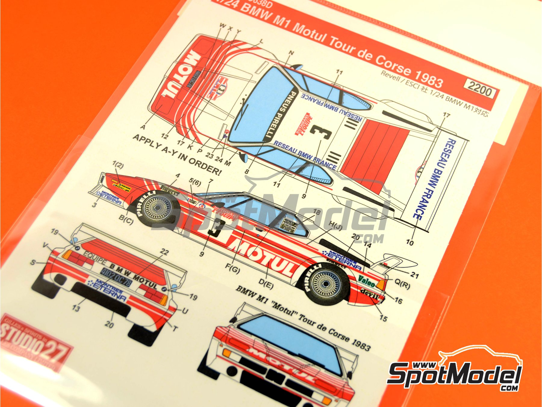 Image 1: BMW M1 Motul - Tour de Corse 1983 | Marking / livery in 1/24 scale manufactured by Studio27 (ref. ST27-DC638D)