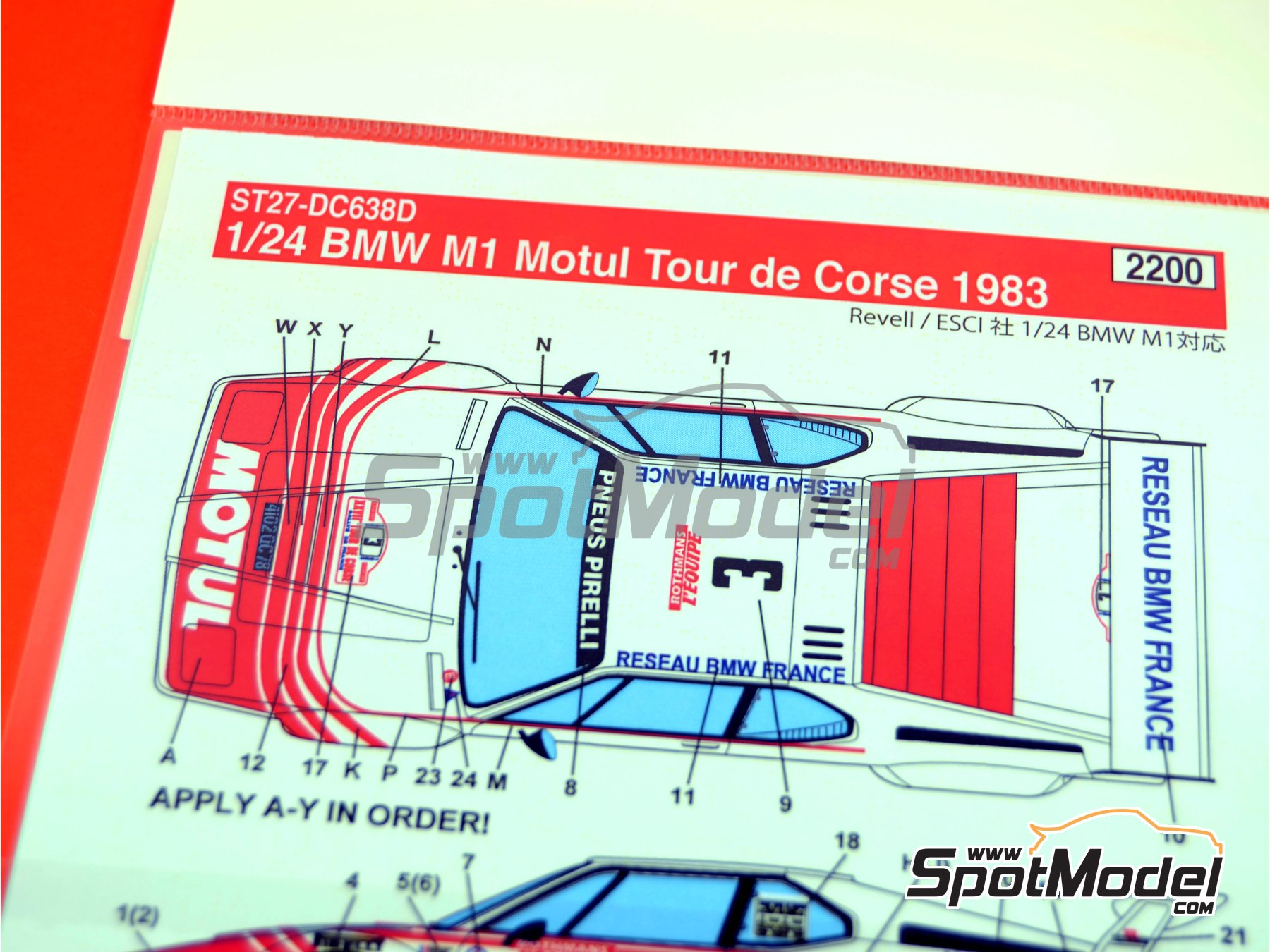 Image 6: BMW M1 Motul - Tour de Corse 1983 | Marking / livery in 1/24 scale manufactured by Studio27 (ref. ST27-DC638D)