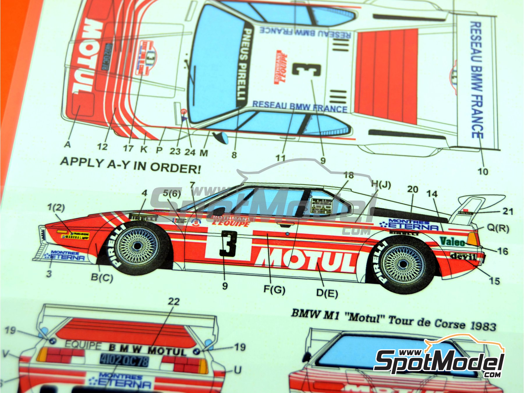 Image 7: BMW M1 Motul - Tour de Corse 1983 | Marking / livery in 1/24 scale manufactured by Studio27 (ref. ST27-DC638D)