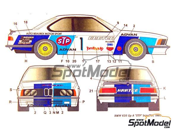 Image 7: BMW 635 Csi Hartge STP - Campeonato Inter TEC Fuji 1985   Decoración en escala1/24 fabricado por Studio27 (ref.ST27-DC694C)