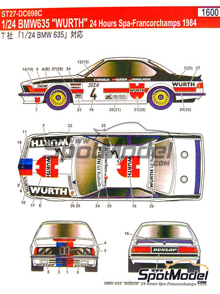 BMW 635 Csi Wurth - 24 Horas de SPA Francorchamps 1984 | Decoración en escala1/24 fabricado por Studio27 (ref.ST27-DC698C) image