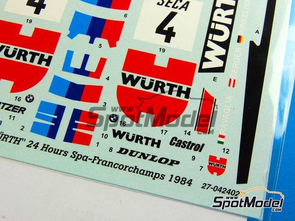 Image 3: BMW 635 Csi Wurth - 24 Horas de SPA Francorchamps 1984 | Decoración en escala1/24 fabricado por Studio27 (ref.ST27-DC698C)