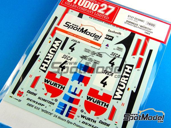 Image 4: BMW 635 Csi Wurth - 24 Horas de SPA Francorchamps 1984 | Decoración en escala1/24 fabricado por Studio27 (ref.ST27-DC698C)