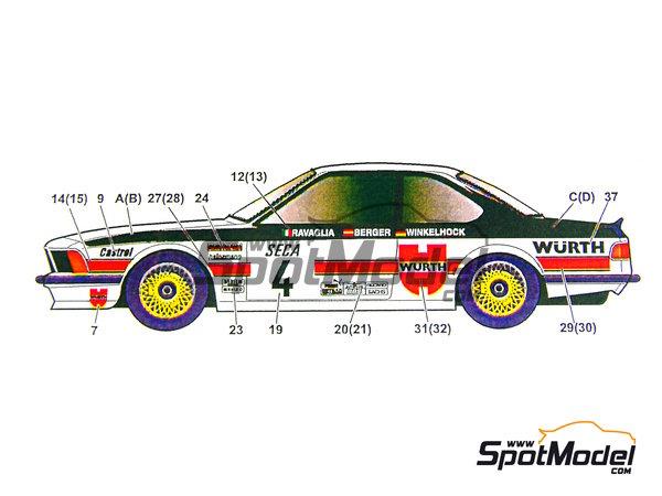Image 5: BMW 635 Csi Wurth - 24 Horas de SPA Francorchamps 1984 | Decoración en escala1/24 fabricado por Studio27 (ref.ST27-DC698C)