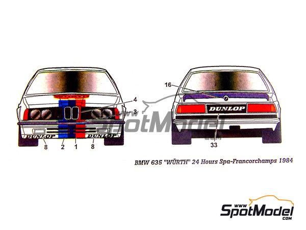 Image 7: BMW 635 Csi Wurth - 24 Horas de SPA Francorchamps 1984 | Decoración en escala1/24 fabricado por Studio27 (ref.ST27-DC698C)