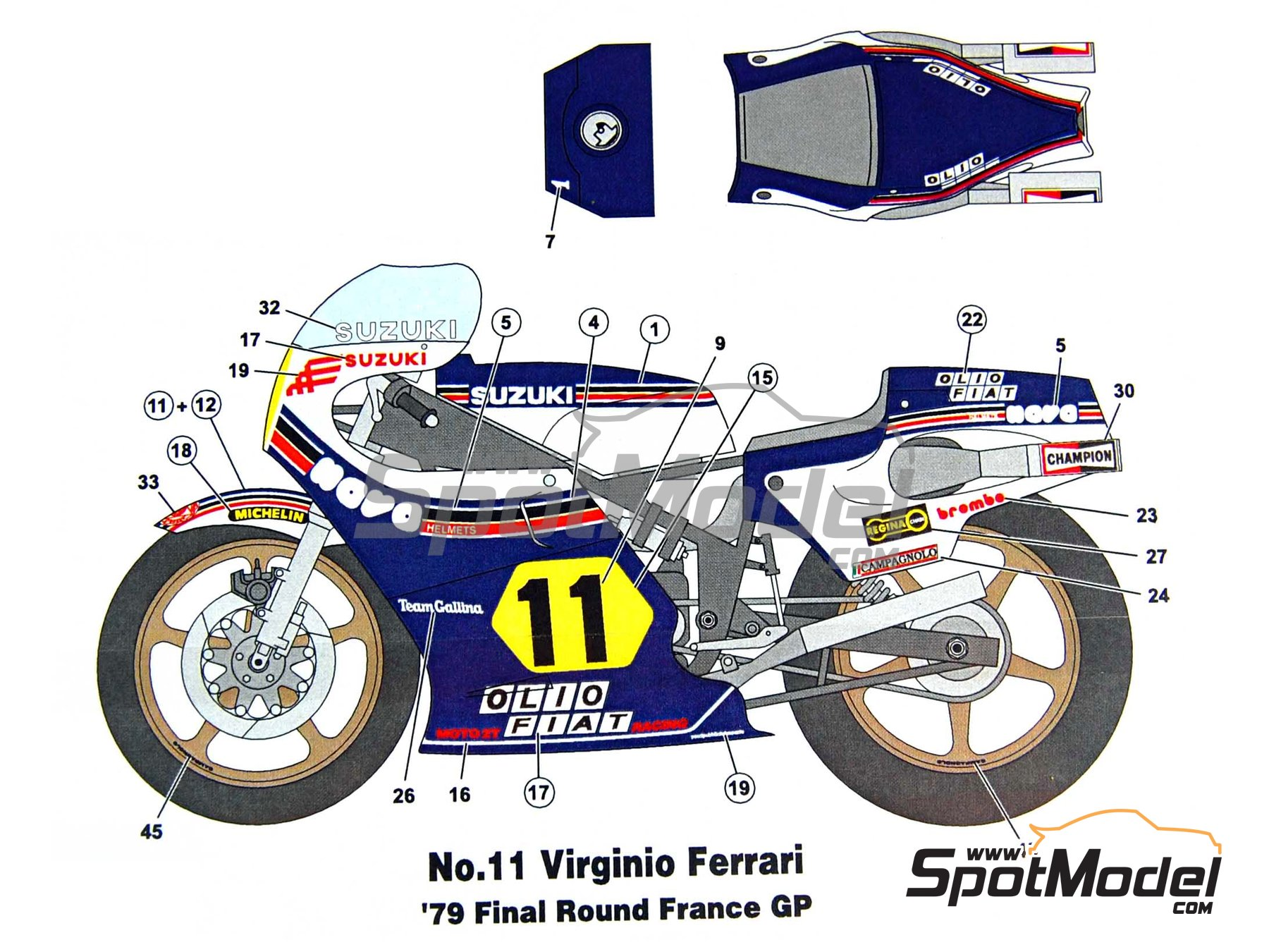 Image 6: Suzuki RGB500 Nava Olio Fiat - Motorcycle World Championship 1979 | Marking / livery in 1/12 scale manufactured by Studio27 (ref.ST27-DC740C)
