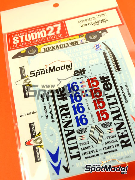 Renault RE30B/30C - World Championship 1982 - 1983 | Decals in 1/20 scale manufactured by Studio27 (ref. ST27-DC743D) image