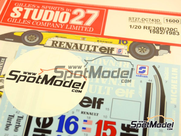 Image 1: Renault RE30B/30C - World Championship 1982 - 1983 | Decals in 1/20 scale manufactured by Studio27 (ref. ST27-DC743D)