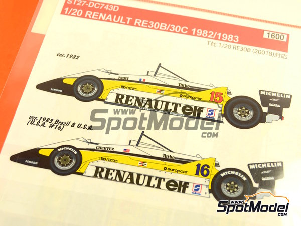 Image 5: Renault RE30B/30C - World Championship 1982 - 1983 | Decals in 1/20 scale manufactured by Studio27 (ref. ST27-DC743D)