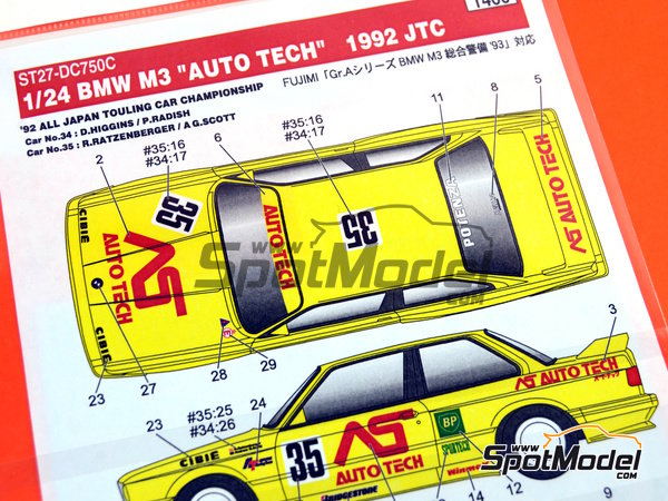 Image 1: BMW M3 E30 AS Auto Tech - Japan Touring Car Championship (JTCC) 1992 | Marking / livery in 1/24 scale manufactured by Studio27 (ref.ST27-DC750C)