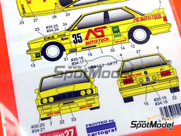 Image 2: BMW M3 E30 AS Auto Tech - Japan Touring Car Championship (JTCC) 1992 | Marking / livery in 1/24 scale manufactured by Studio27 (ref.ST27-DC750C)