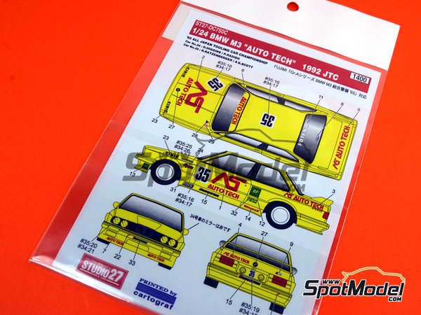 Image 3: BMW M3 E30 AS Auto Tech - Japan Touring Car Championship (JTCC) 1992 | Marking / livery in 1/24 scale manufactured by Studio27 (ref.ST27-DC750C)