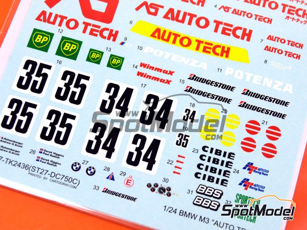 Image 5: BMW M3 E30 AS Auto Tech - Japan Touring Car Championship (JTCC) 1992 | Marking / livery in 1/24 scale manufactured by Studio27 (ref.ST27-DC750C)