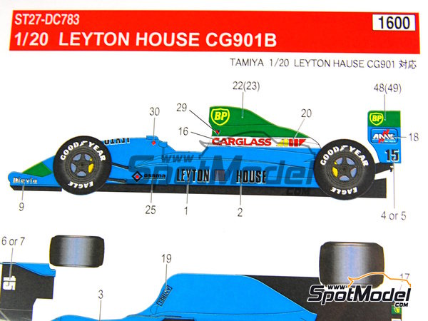 Image 16: Leyton House Judd CG901B Carglass BP Osama Anibel - FIA Formula 1 World Championship 1990 | Marking / livery in 1/20 scale manufactured by Studio27 (ref. ST27-DC783)