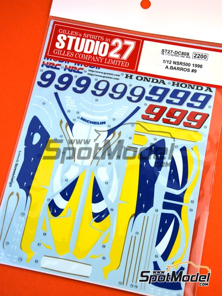 Honda NSR500 - Motorcycle World Championship 1998 | Marking / livery in 1/12 scale manufactured by Studio27 (ref.ST27-DC808) image