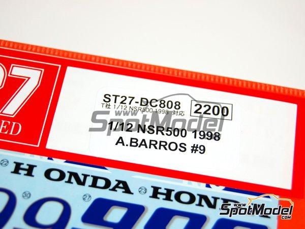 Image 2: Honda NSR500 - Campeonato del Mundo de Motociclismo 1998 | Decoración en escala1/12 fabricado por Studio27 (ref.ST27-DC808)