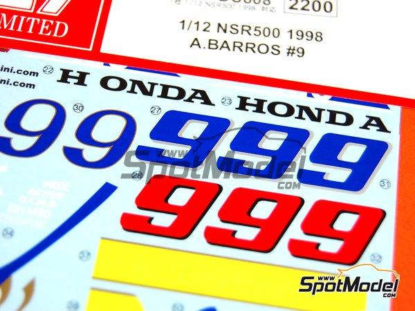 Image 4: Honda NSR500 - Campeonato del Mundo de Motociclismo 1998 | Decoración en escala1/12 fabricado por Studio27 (ref.ST27-DC808)