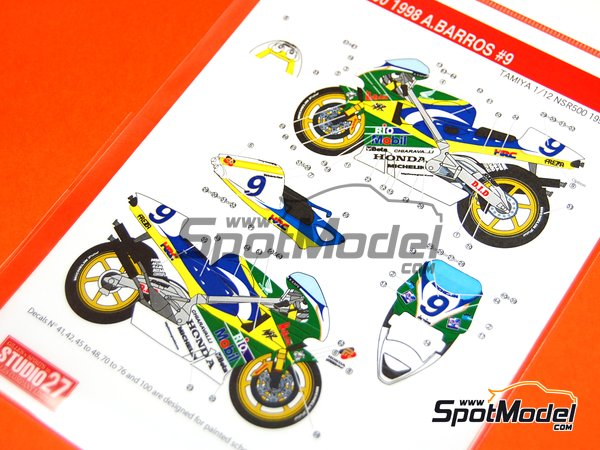 Image 11: Honda NSR500 - Motorcycle World Championship 1998 | Marking / livery in 1/12 scale manufactured by Studio27 (ref.ST27-DC808)
