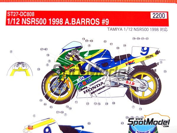Image 12: Honda NSR500 - Motorcycle World Championship 1998 | Marking / livery in 1/12 scale manufactured by Studio27 (ref.ST27-DC808)