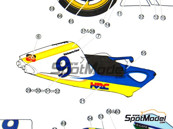 Image 13: Honda NSR500 - Motorcycle World Championship 1998 | Marking / livery in 1/12 scale manufactured by Studio27 (ref.ST27-DC808)