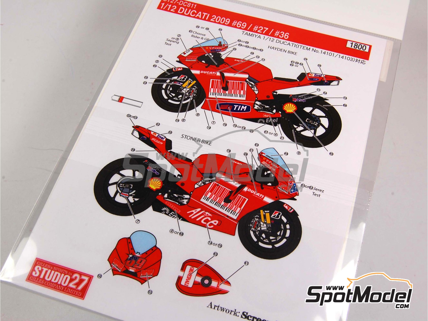 Image 10: Ducati Desmosedici GP9 Enel - Motorcycle World Championship 2009 | Marking / livery in 1/12 scale manufactured by Studio27 (ref.ST27-DC811)