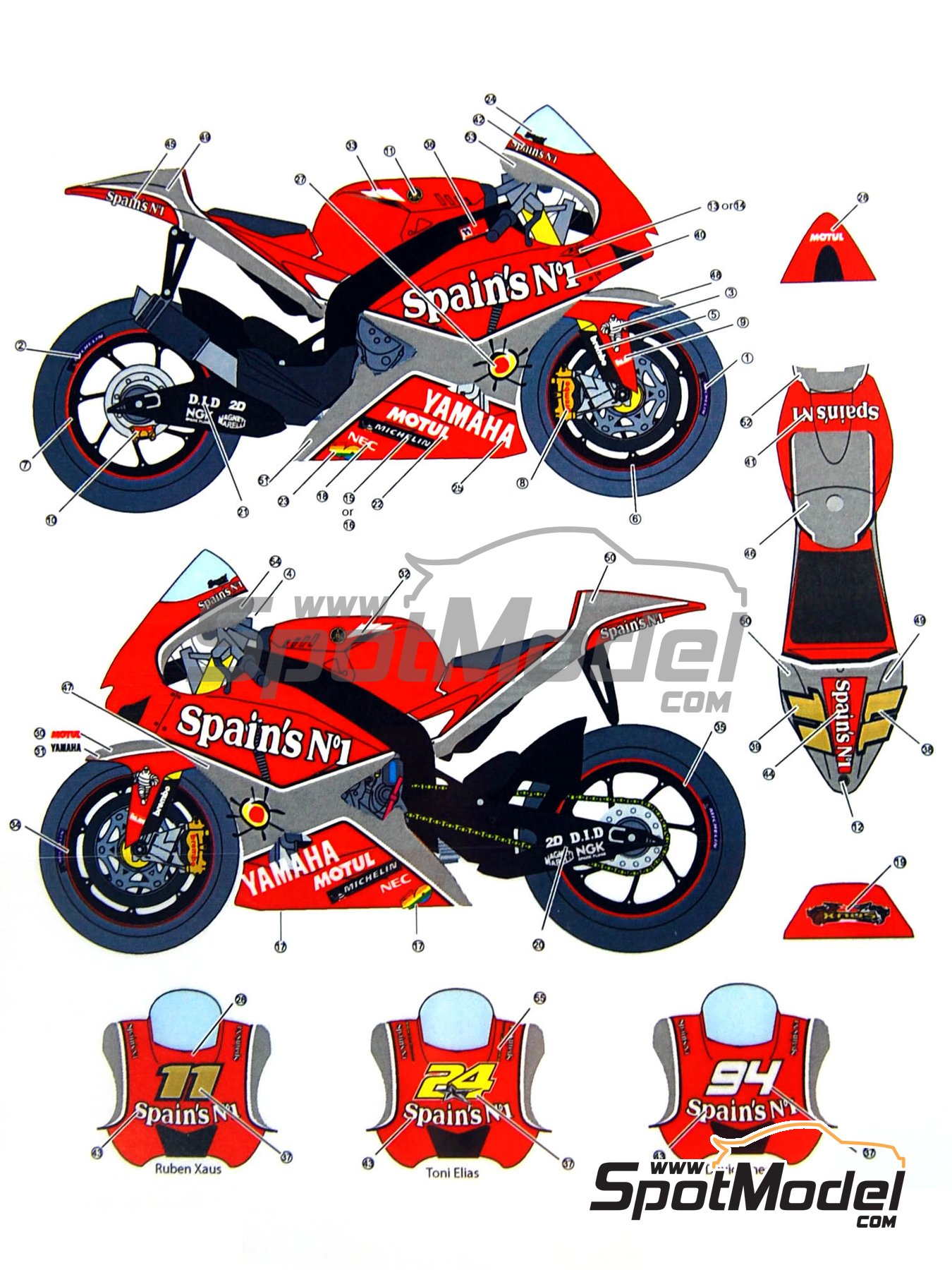 Yamaha YZR-M1 Tech3 Spain - Motorcycle World Championship 2005 | Decals in 1/12 scale manufactured by Studio27 (ref.ST27-DC844) image