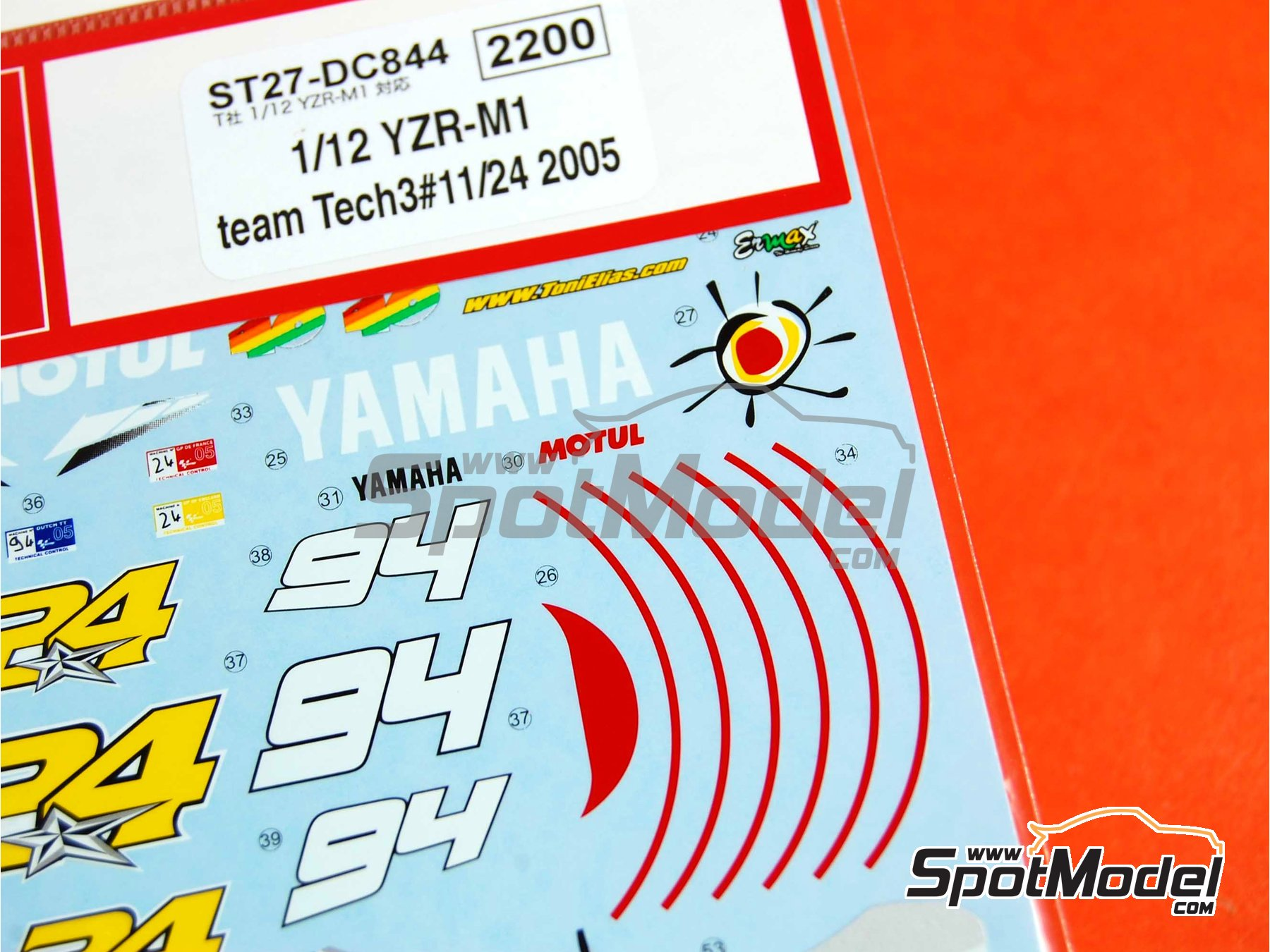 Image 2: Yamaha YZR-M1 Tech3 Spain - Motorcycle World Championship 2005 | Decals in 1/12 scale manufactured by Studio27 (ref.ST27-DC844)