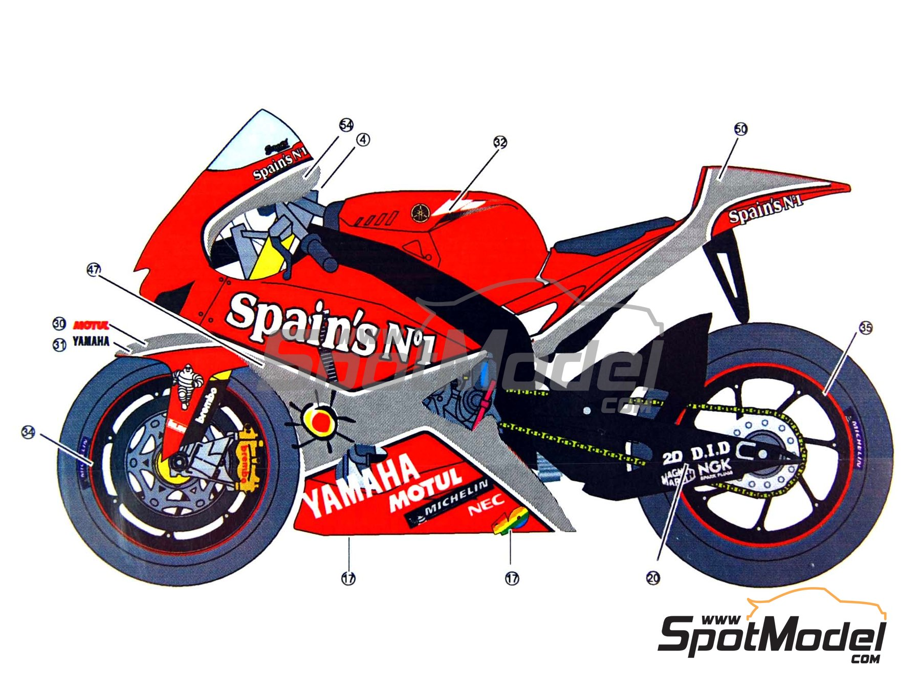 Image 7: Yamaha YZR-M1 Tech3 Spain - Motorcycle World Championship 2005 | Decals in 1/12 scale manufactured by Studio27 (ref.ST27-DC844)