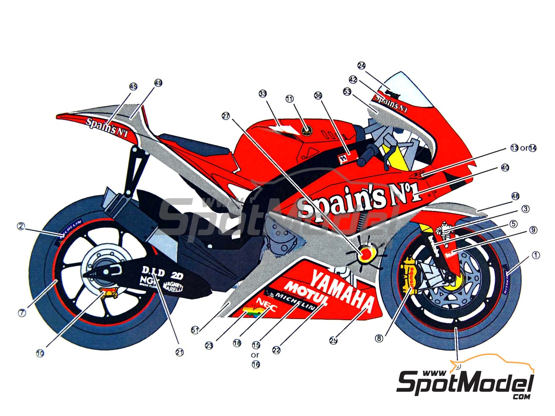Image 8: Yamaha YZR-M1 Tech3 Spain - Motorcycle World Championship 2005 | Decals in 1/12 scale manufactured by Studio27 (ref.ST27-DC844)