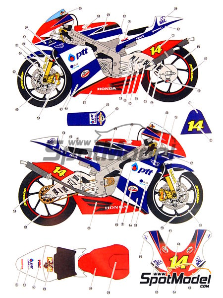 studio27: decals 1/12 scale - honda rsw250 ptt #14 - motorcycle