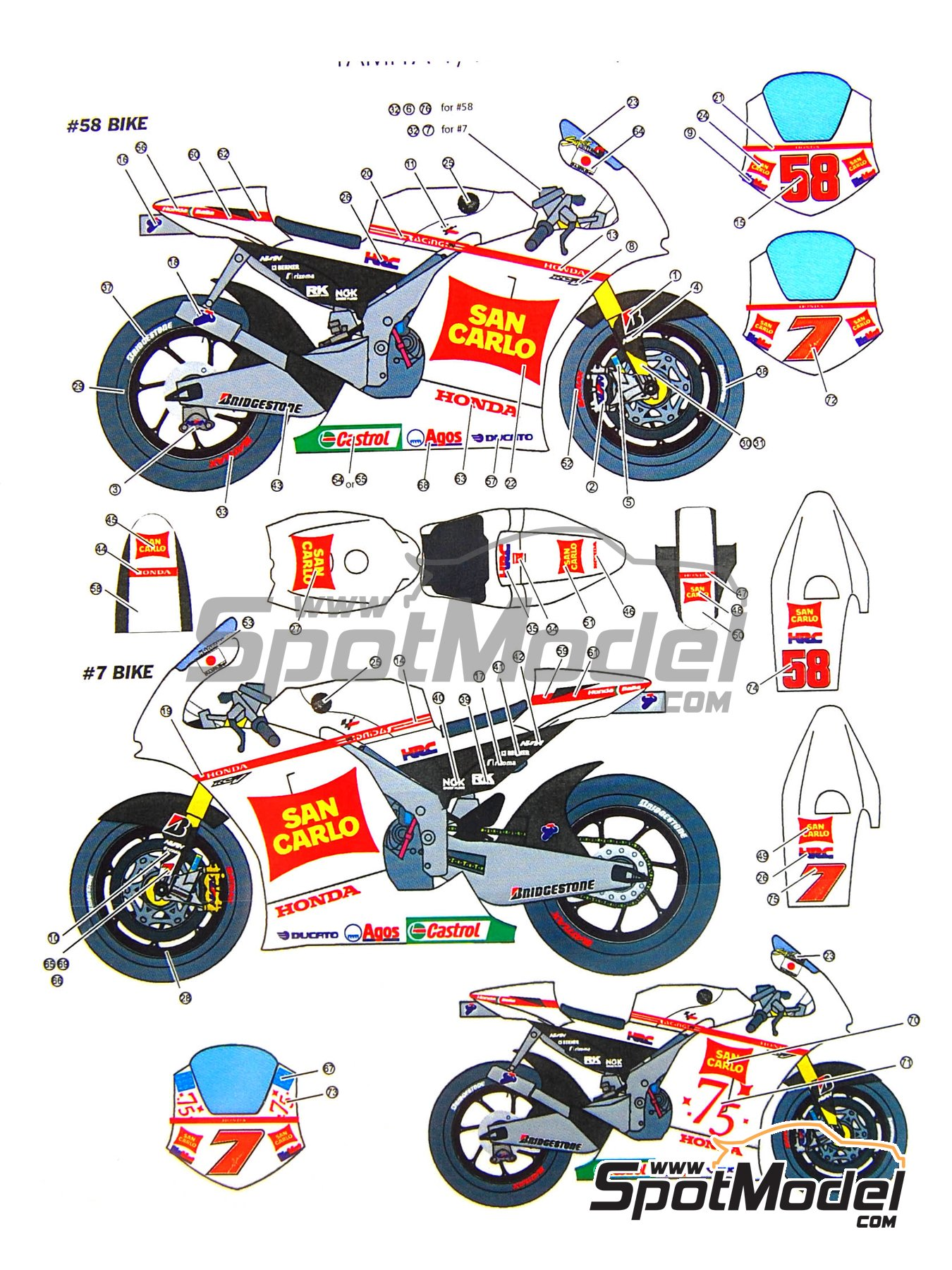 Honda RC212V Gresini - Motorcycle World Championship 2011 | Marking / livery in 1/12 scale manufactured by Studio27 (ref. ST27-DC906) image