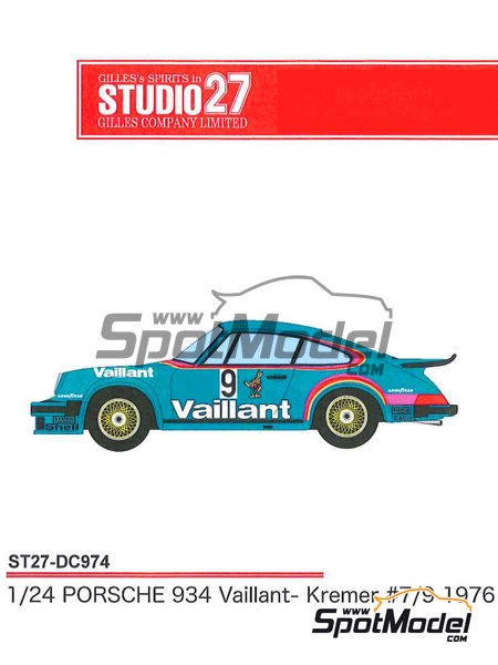 Porsche 934 Turbo RSR Group 4 Vaillant -  1976 | Marking / livery in 1/24 scale manufactured by Studio27 (ref.ST27-DC974) image