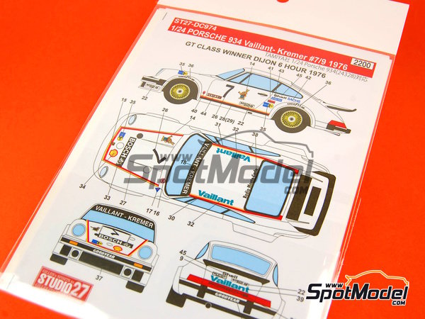 Image 7: Porsche 934 Turbo RSR Group 4 Vaillant -  1976 | Marking / livery in 1/24 scale manufactured by Studio27 (ref.ST27-DC974)
