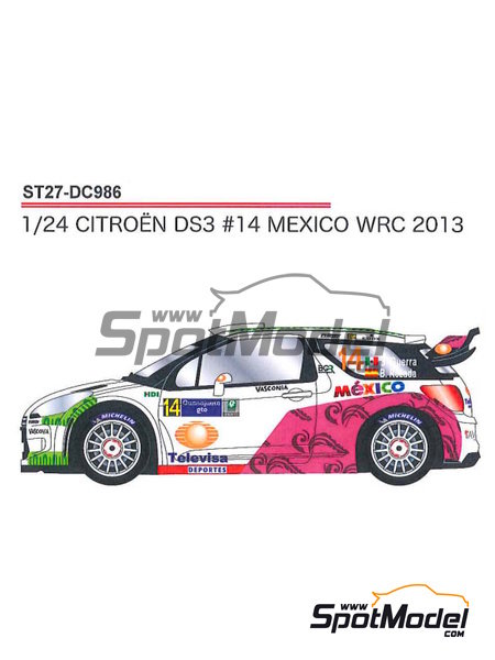 Citroen DS3 WRC Mexico - Mexico Rally 2013 | Decals in 1/24 scale manufactured by Studio27 (ref.ST27-DC986) image