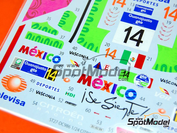 Image 4: Citroen DS3 WRC Mexico - Mexico Rally 2013 | Decals in 1/24 scale manufactured by Studio27 (ref.ST27-DC986)