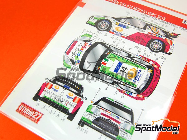 Image 7: Citroen DS3 WRC Mexico - Mexico Rally 2013 | Decals in 1/24 scale manufactured by Studio27 (ref.ST27-DC986)