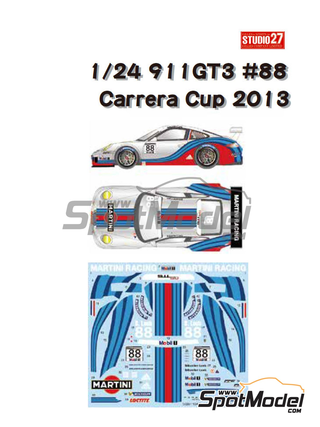 Porsche 911 GT3R Martini Racing - Carrera Cup 2013 | Marking / livery in 1/24 scale manufactured by Studio27 (ref. ST27-DC991) image
