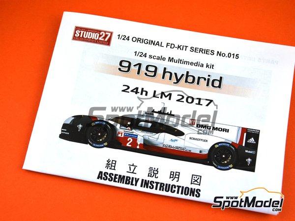 Image 3: Porsche 919 Hybrid DMG Mori - 24 Hours Le Mans 2017 | Model car kit in 1/24 scale manufactured by Studio27 (ref.ST27-FD24015)